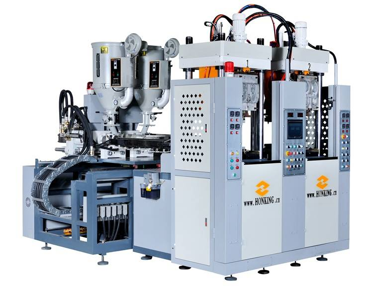 HM-118 Vetical type single color TPR sole machine with 2 stations