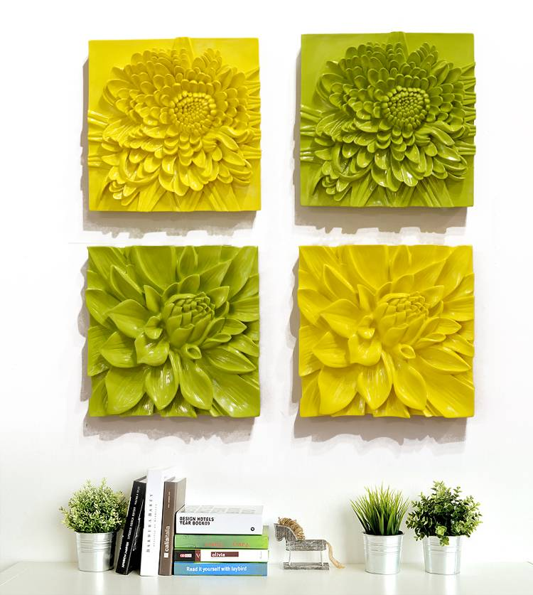 Resin wall decoration hanging 3D painting flower for home decor