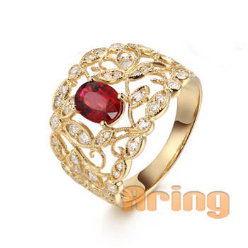 Wholesale 18k Gold Jewelry Synthetic Ruby Rings