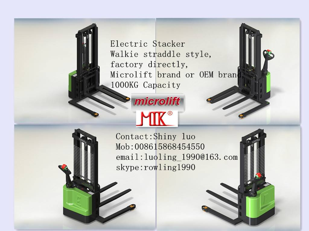 Straddle Electric Stacker factory, Microlift or OEM brand, 1.0MT Capacity, ES10S Model