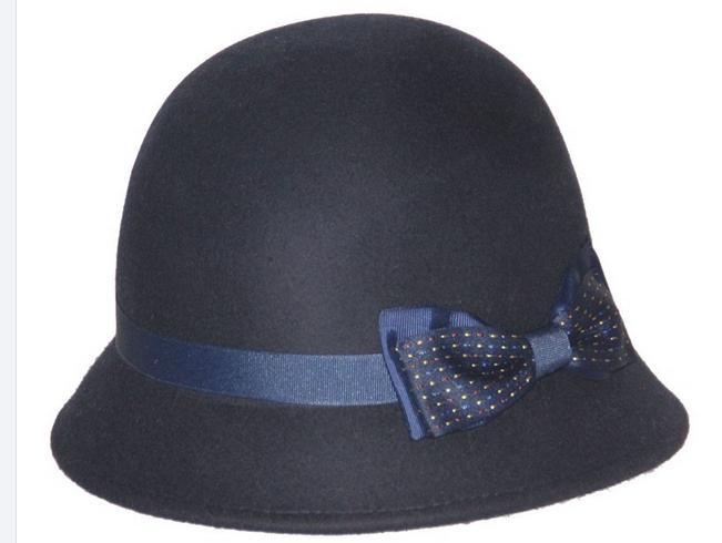 100% WOOL FELT black BOWLER HAT