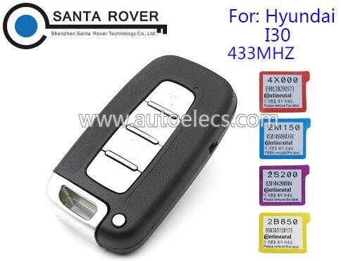 4 Button 433MHZ For Hyundai I30 Smart Remote Key Card