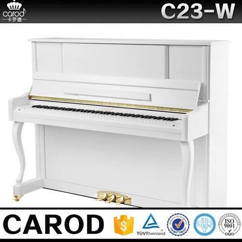 white upright piano size C23W