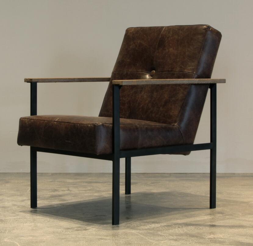Antique Metal Living Chair with Leather Upholstery