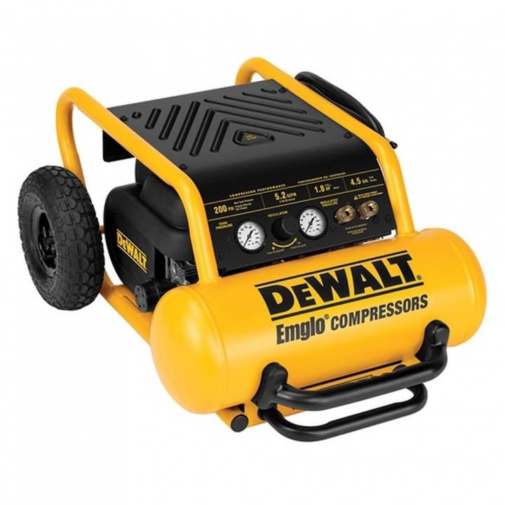 Dewalt D55146 Heavy-Duty 200 PSI 4.5 Gallon Electric Wheeled Portable Compressor