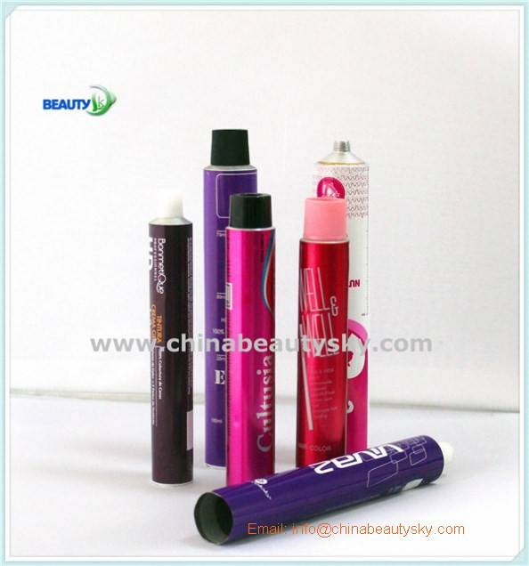 Empty Collapsible aluminum tubes For Hair Color Cream