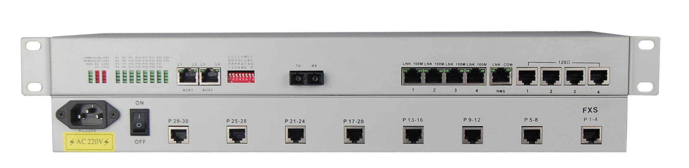 Voice fiber optical multiplexer with 30*FXS/FXO/POTS/E&M,4E1,4Ethernet FE,4RS232