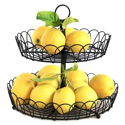 Black 2 Tiers Removable Metal Wire Bread Fruit Basket For Storage