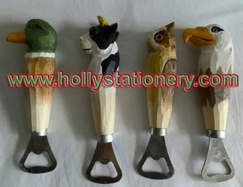carved wooden animal bottle opener