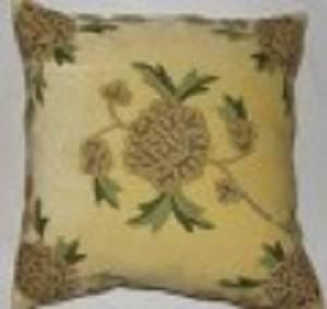 Crewel Pillow Amarylo Beige Cotton Velvet (16x16)