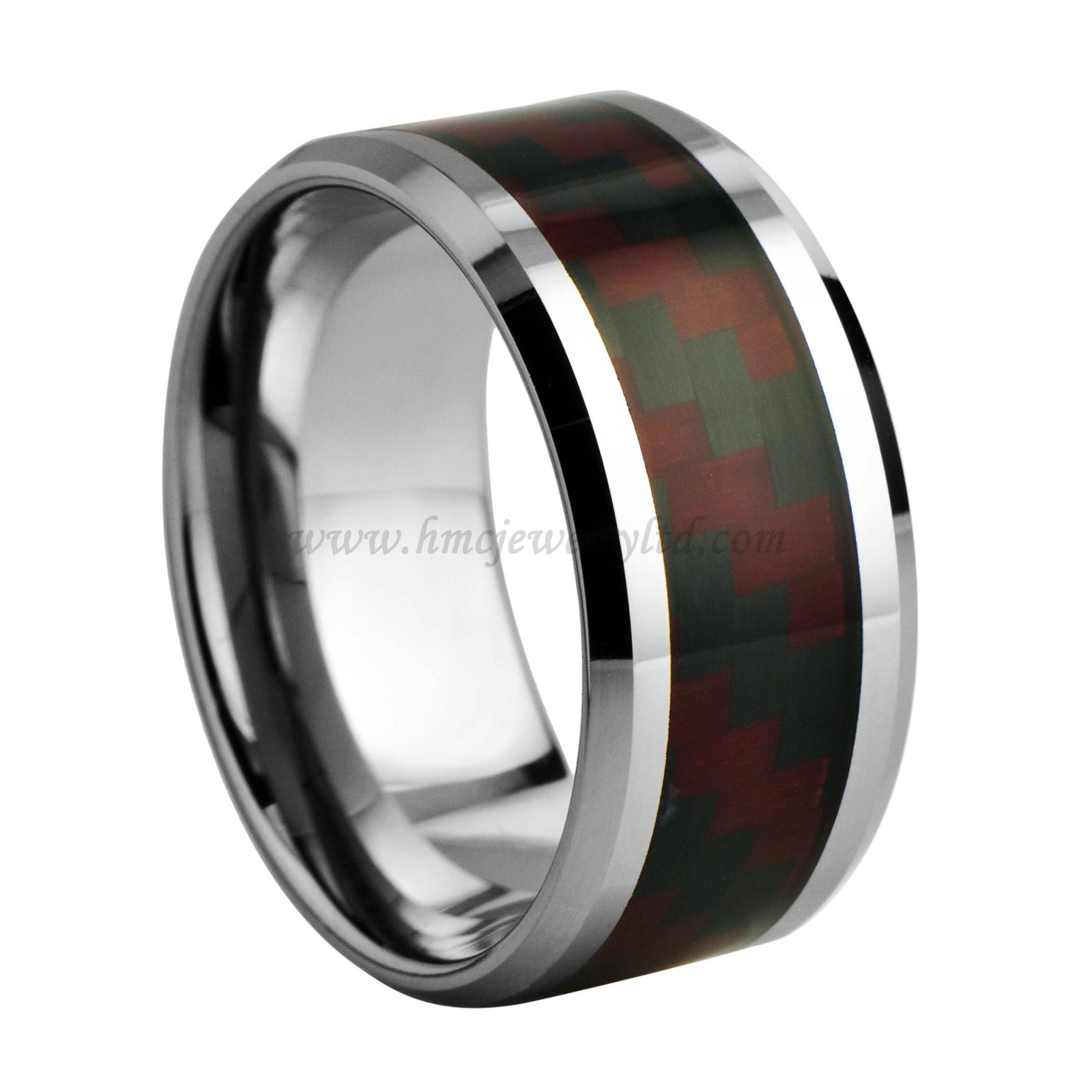 Mens Brushed Red- Black Carbon Fiber Inlay Tungsten Carbide Ring 12 MM