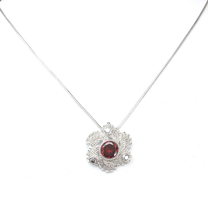 silver zircon pendant set