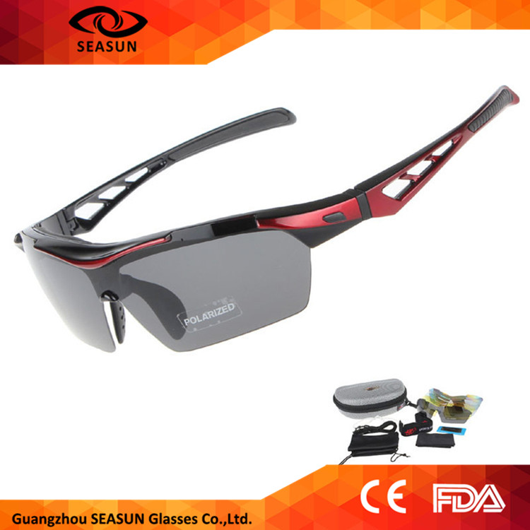 Black Tac Polarized UV 400 Lens CE Biking Riding Sunglasses Men Outdoor Sport Glasses
