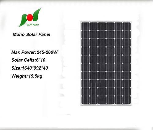 Full power 245W 30V solar panel for off-grid solar power system