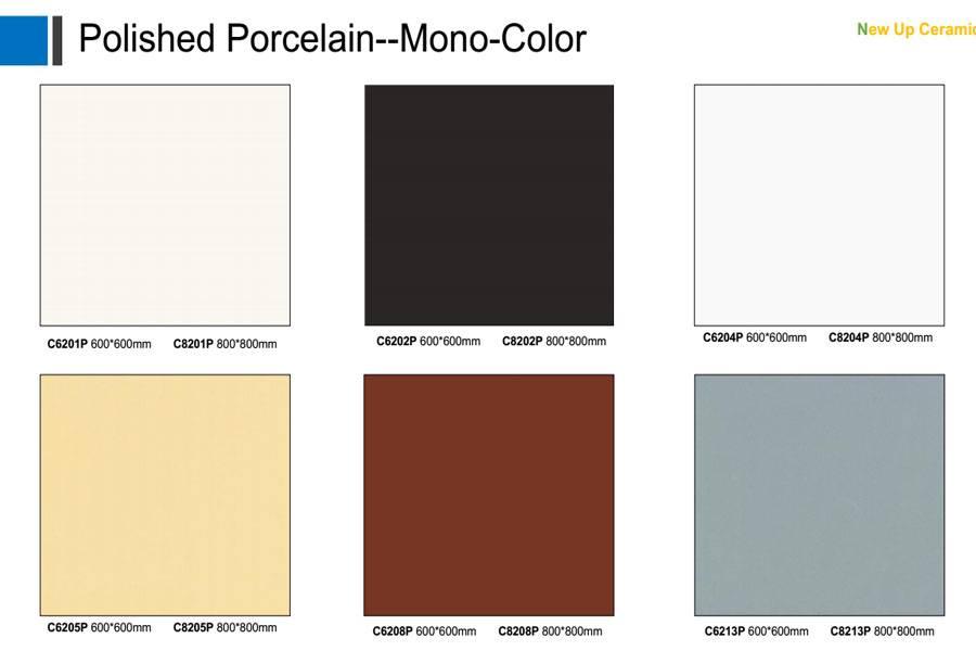 Mono color polished porcelain floor tiles