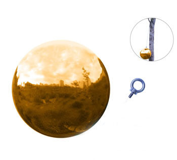 Golden Stainless Steel Sphere with Hanging Hook