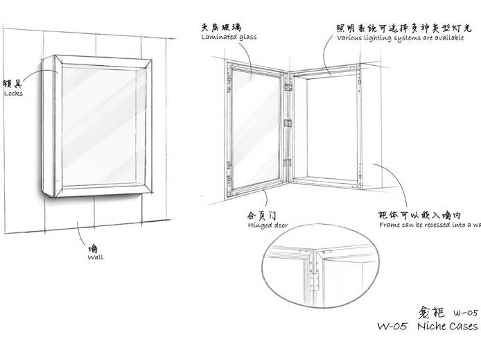Museum Wall display cases Niche cases W-05