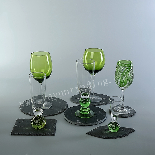 leaf shape personalized natural stone slate placemats and coaster
