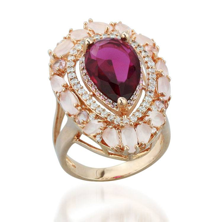 2015 Manli Fashion European and American female Pink pear-shaped jewelry Ring