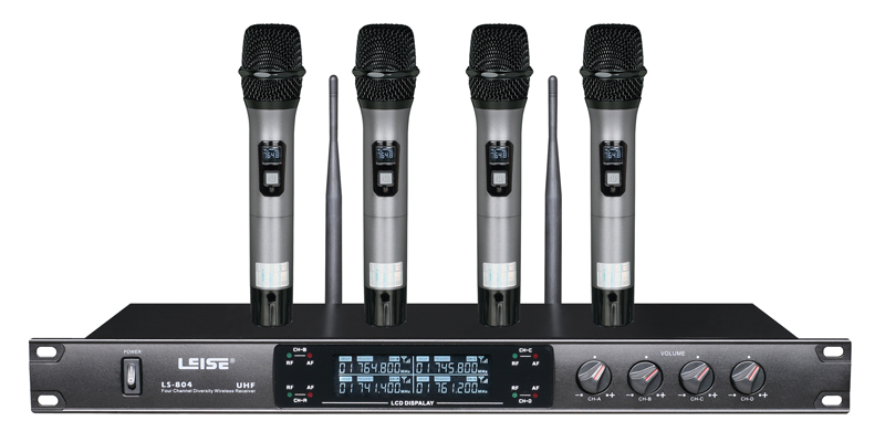 Ls-804 High Quality Professional Four Channels UHF Wireless Microphone