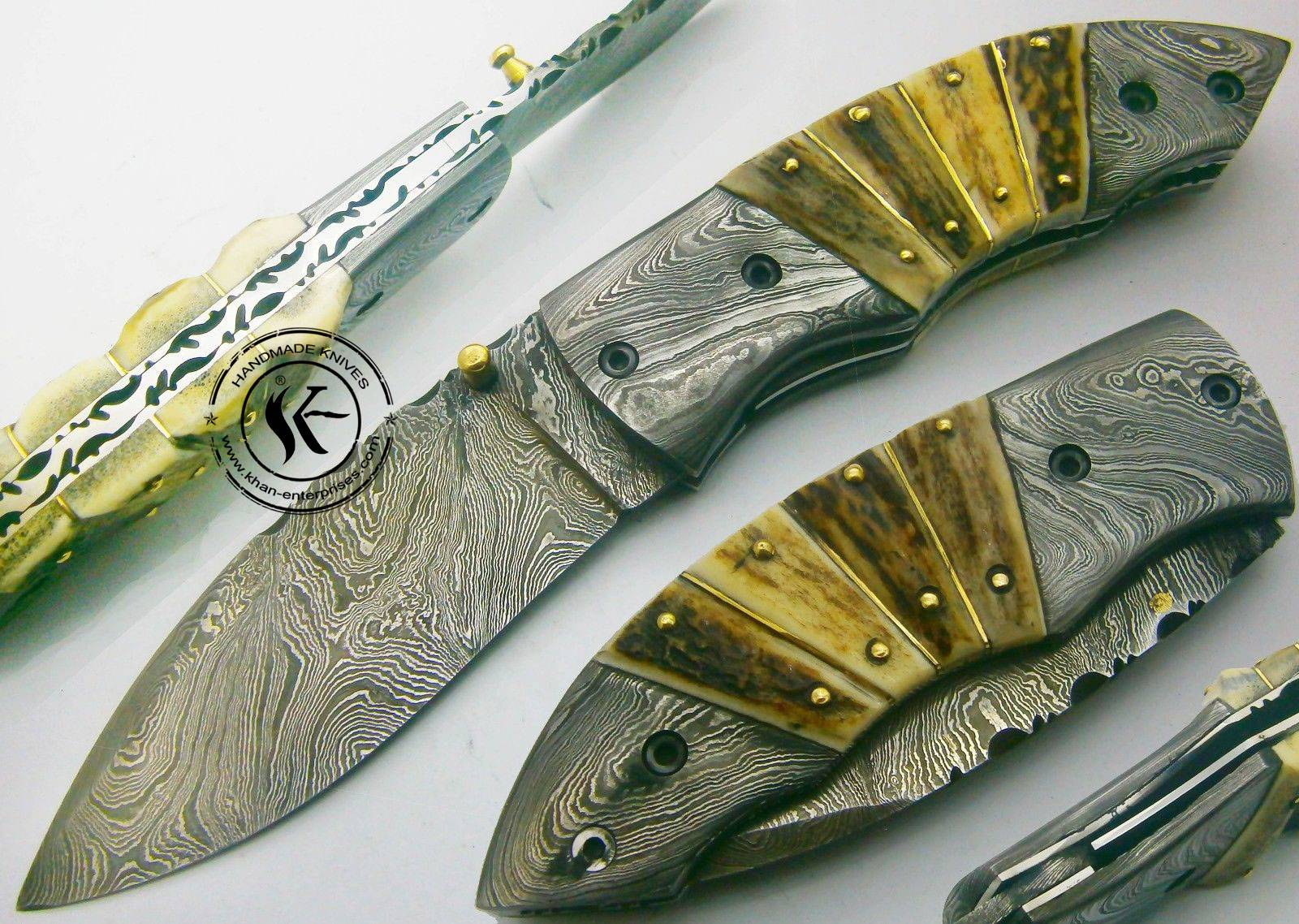 Awesome, Custom hand made beautiful damascus steel folding knife