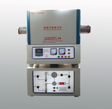 1000-1400 centigrade high temperature tube furnace with gas control cabinet