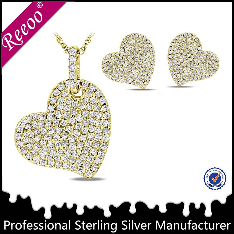 Heart jewelry set 14k gold jewelry wholesale