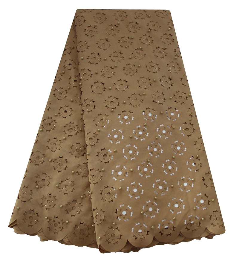 Hot Selling New Arrival African Embroidery Laser Cut Lace Fabric