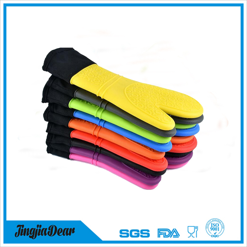 Silicone Oven Mitt - 1 Pair - Extra Long Oven Mitts with Quilted Liner for Extra Protection