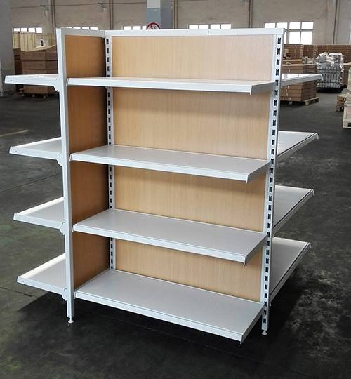 4-way timber back display shelving