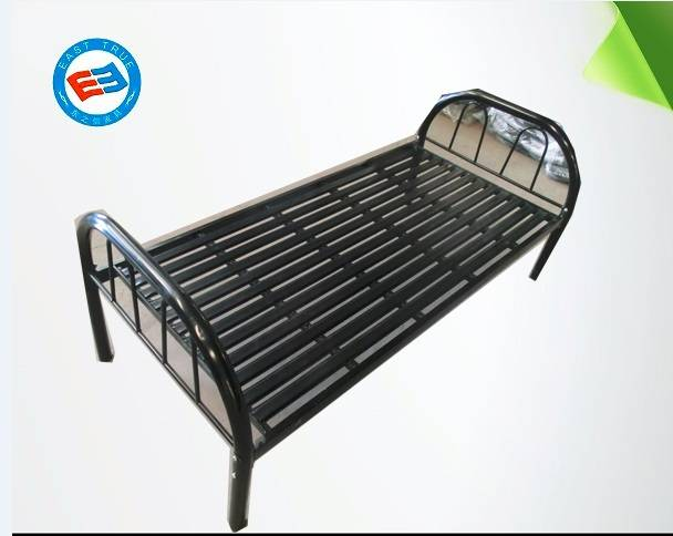 2016 hotsale New design factory price Knock down single bed steel cheap single bed bunk bed metal be