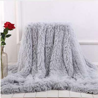 Soft Fur Throw Blanket for bed Long Shaggy Fuzzy Fur Faux Winter Blankets for Bed Sofa Warm Cozy Wit