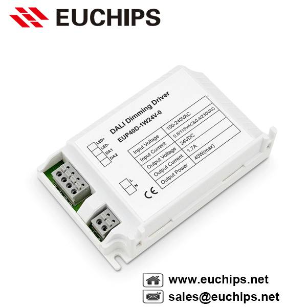 100-240VAC 40W 1 channel dali constant voltage led dimmable driver EUP40D-1W24V-0