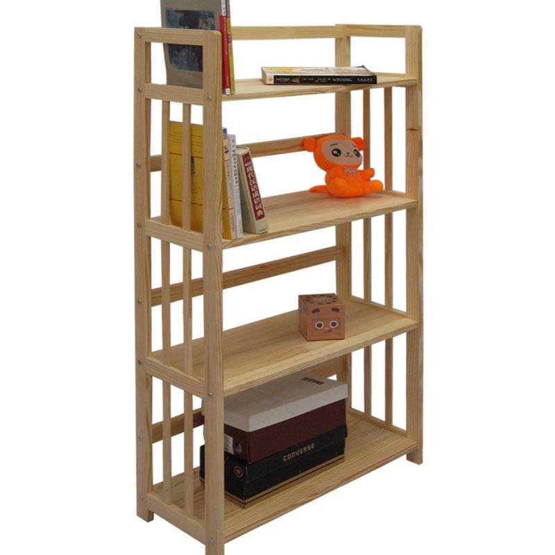 Wooden 4 Shelf Bookcase- Solid Unfinished Pine