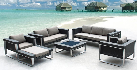 Brushed aluminium PE rattan sofa outdoor furniture