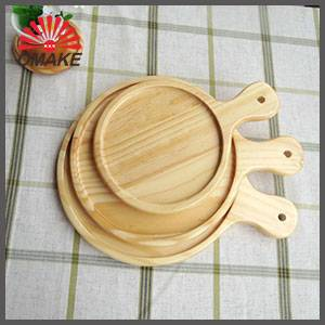 wholesale customized OEM service strong round wooden pizza tray with rim