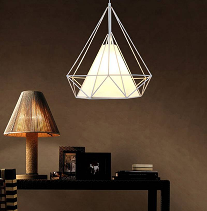 metal cage pendant lamp/hanging diamond stone lamps/metal wire cage pendant lamp