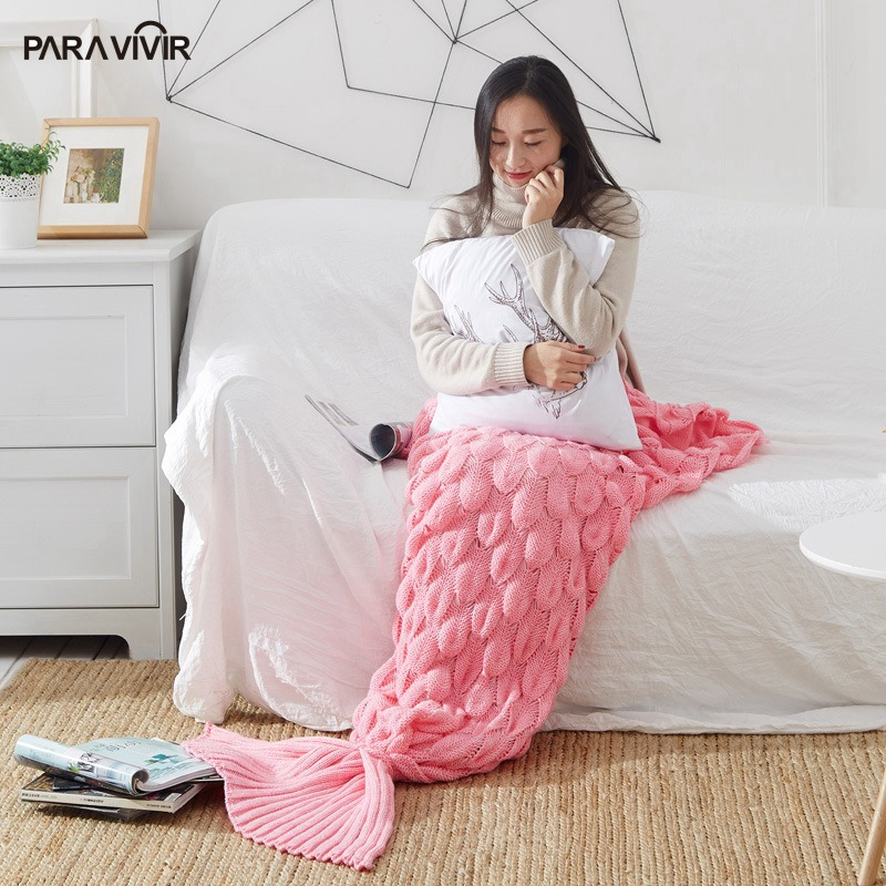 Mermaid Tail Blanket Yarn Knitted Handmade Crochet Blanket Throw Wrap Blankets Soft Bedspread