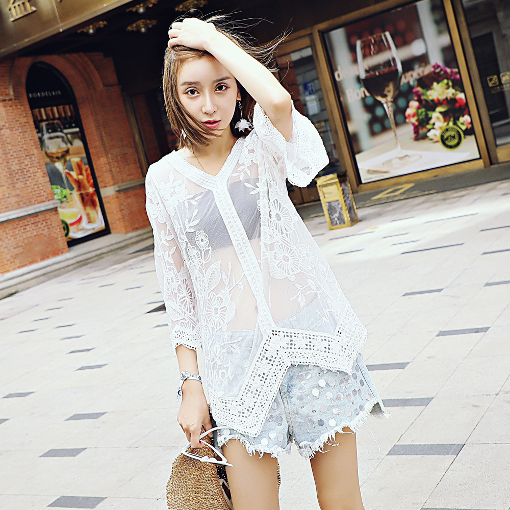 Sextile Sleeve Lace Perspective Blouse Lace Embroidered Tops Women 's Fall Lace Holder Blouse Fall