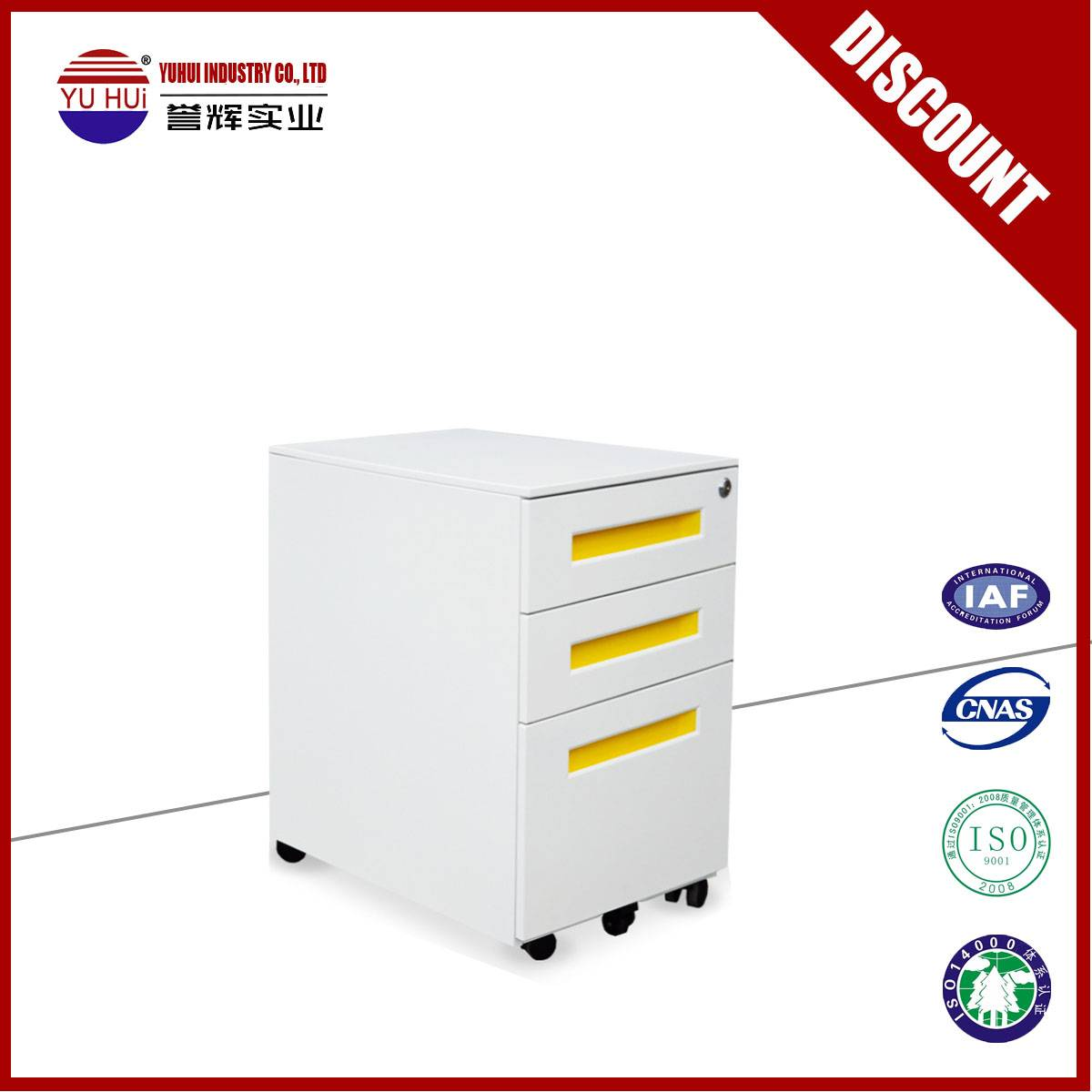cold roll steel 3 drawers movable filing cabinet