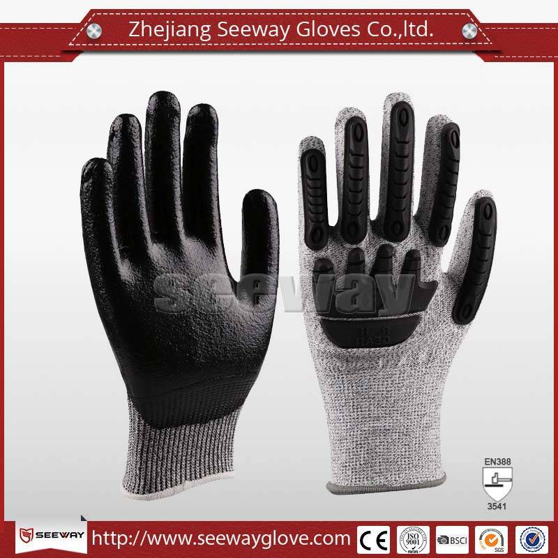 SeeWay B509 HDPE Cut resistant TPR back impact work gloves with Nitrile coated palm for hands collis