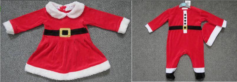 early days brand stock available, 12,581pcs Infants velvet Xmas footie romper with hat+dress TC3-331