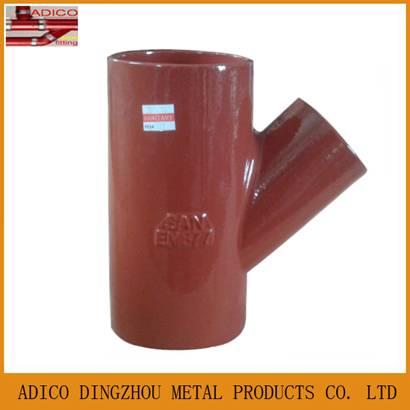 EN877 red epoxy painting drainage cast iron Y tee pipe fitting