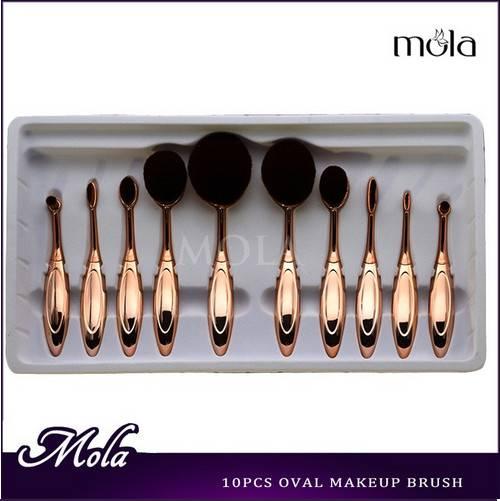 Golden 10pcs makeup brushes