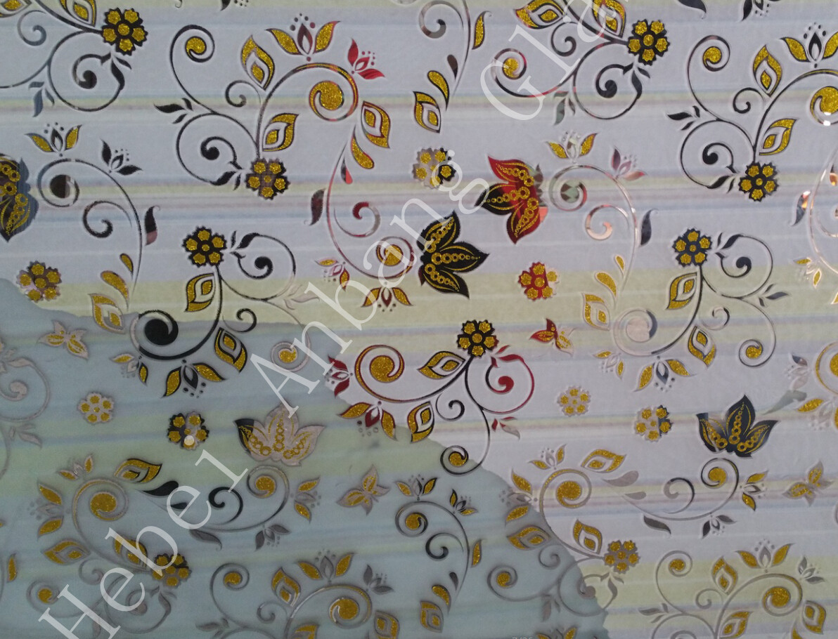 5mm hot selling design ice flower acid etched mirror glass for wall glass