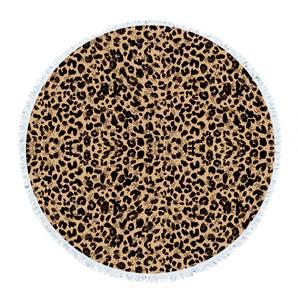 Leopard grain round towel