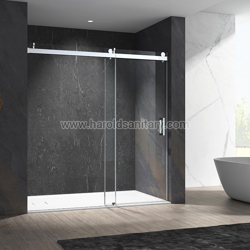 Stainless Steel Soft-Closing Sliding Glass Shower Enclosure