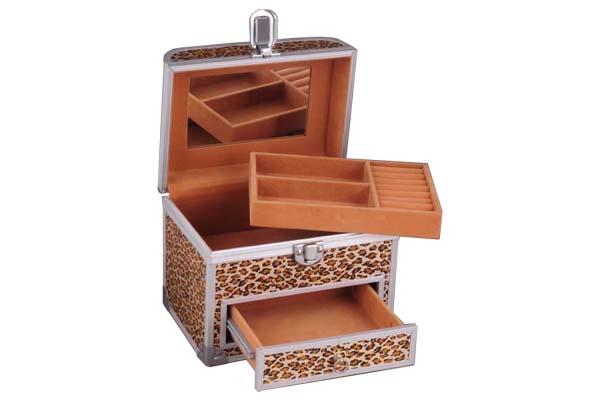 Jewelry Case with Ring Holders and Tray and Drawer