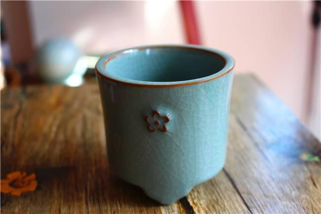 Longquan celadon cups handmade ceramics, unique burner