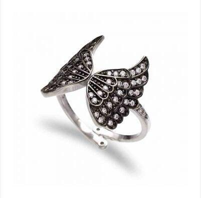 high quality unique design fashion butterfly shape 925 silver black cz ring